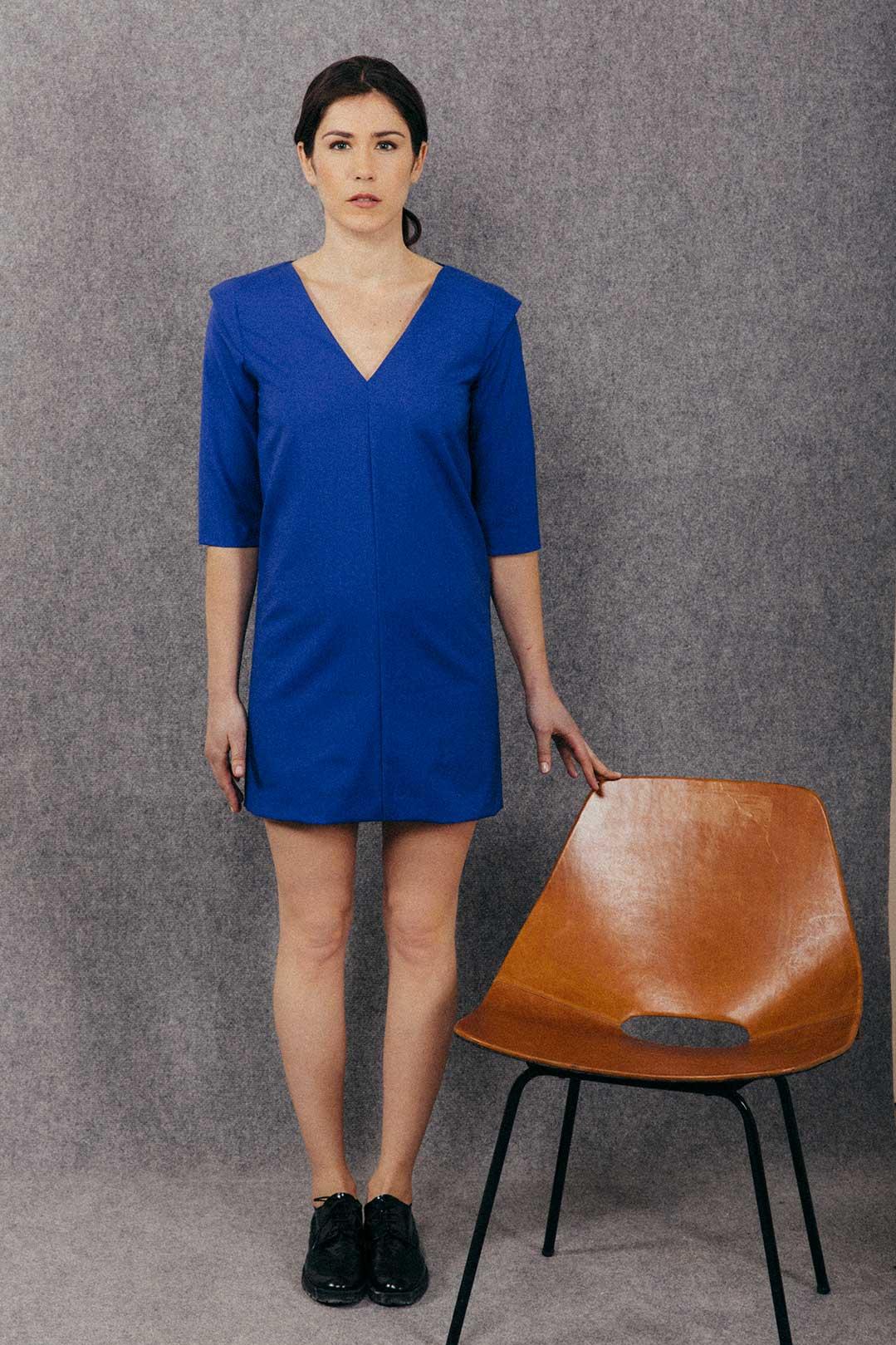 robe droite bleu