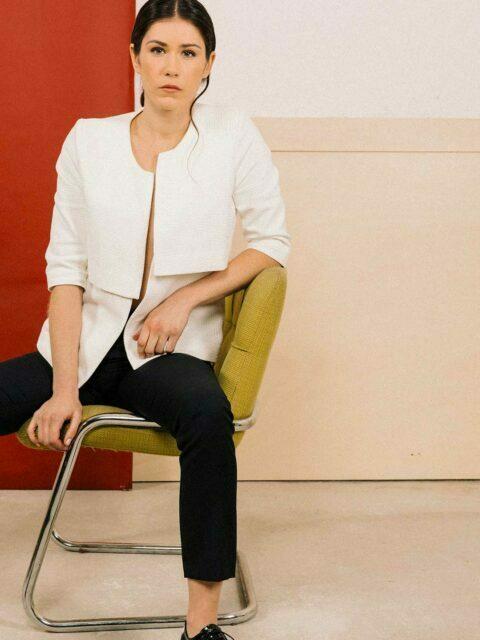 veste coton blanc