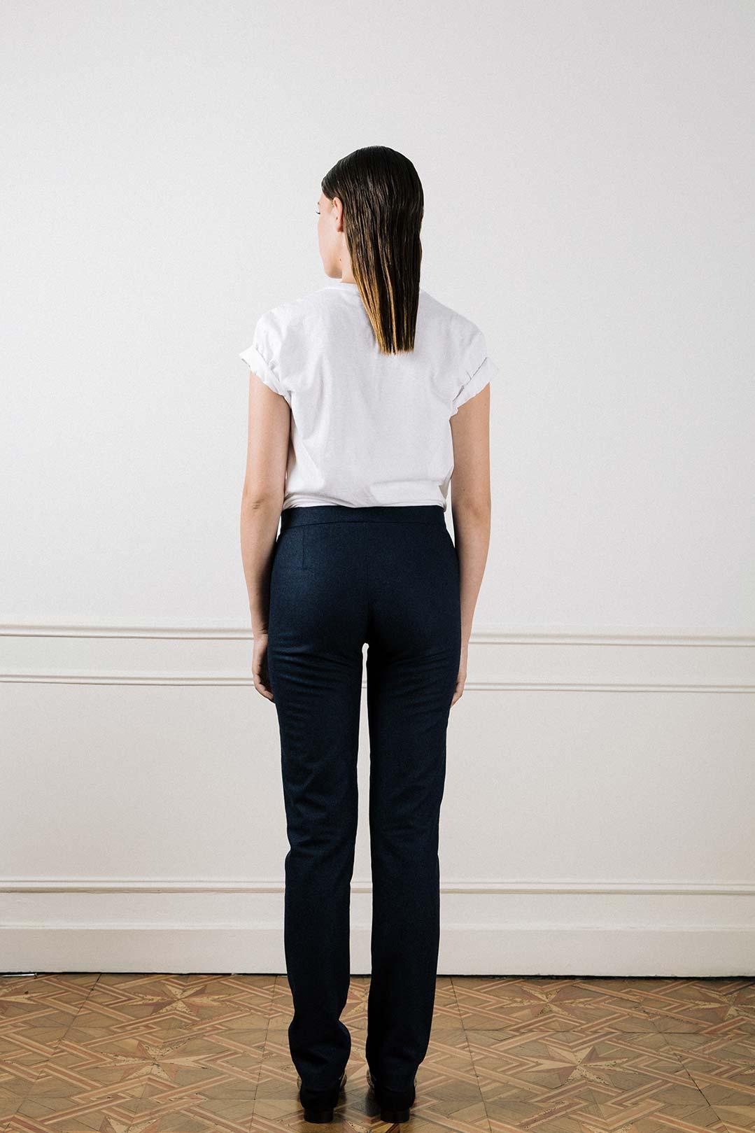 Pantalon droit en laine bleu chiné Sophie