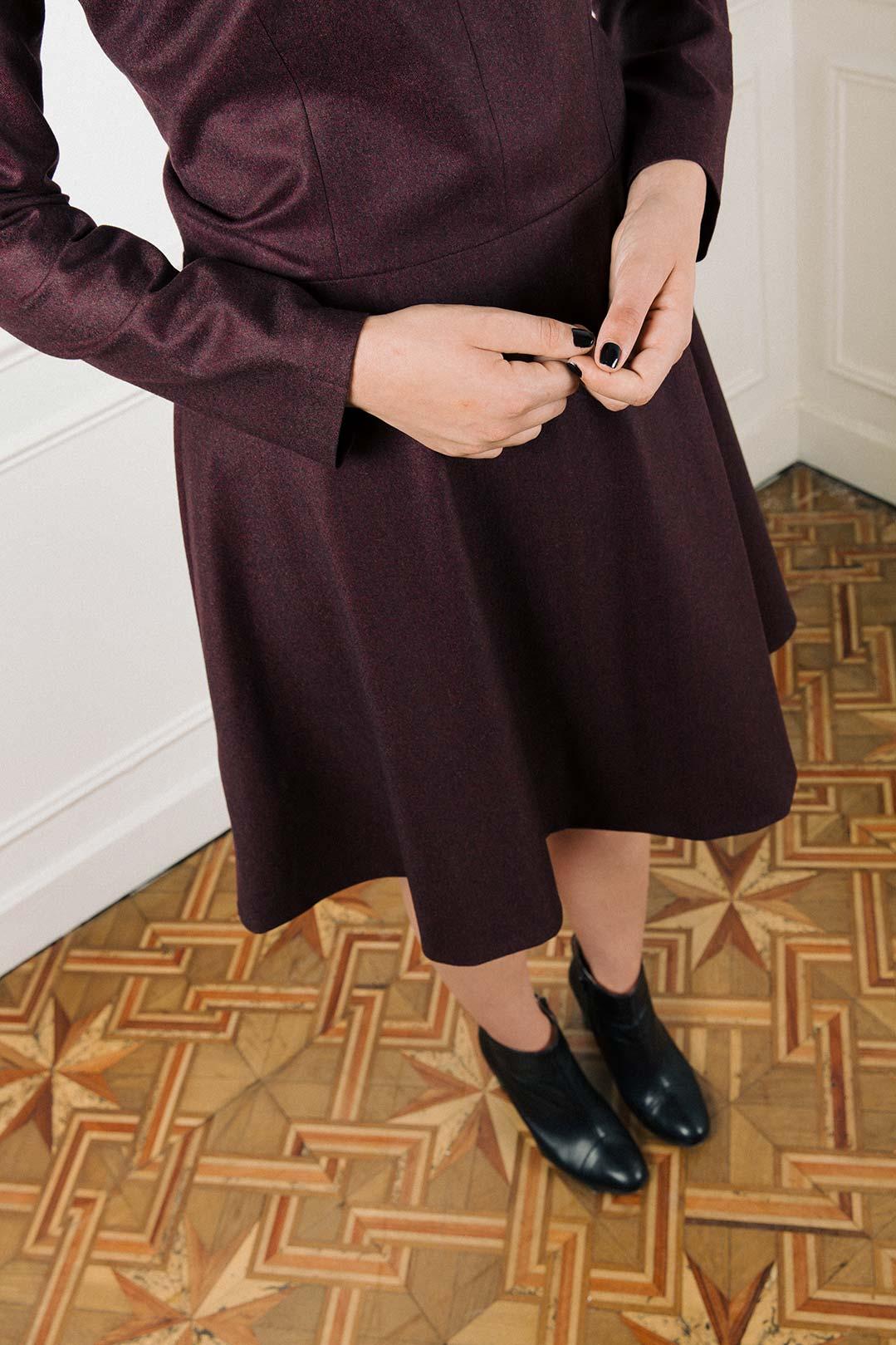 Robe patineuse en laine flanelle bordeaux Alexandra