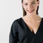 Robe droite noire en laine froide Chrystelle