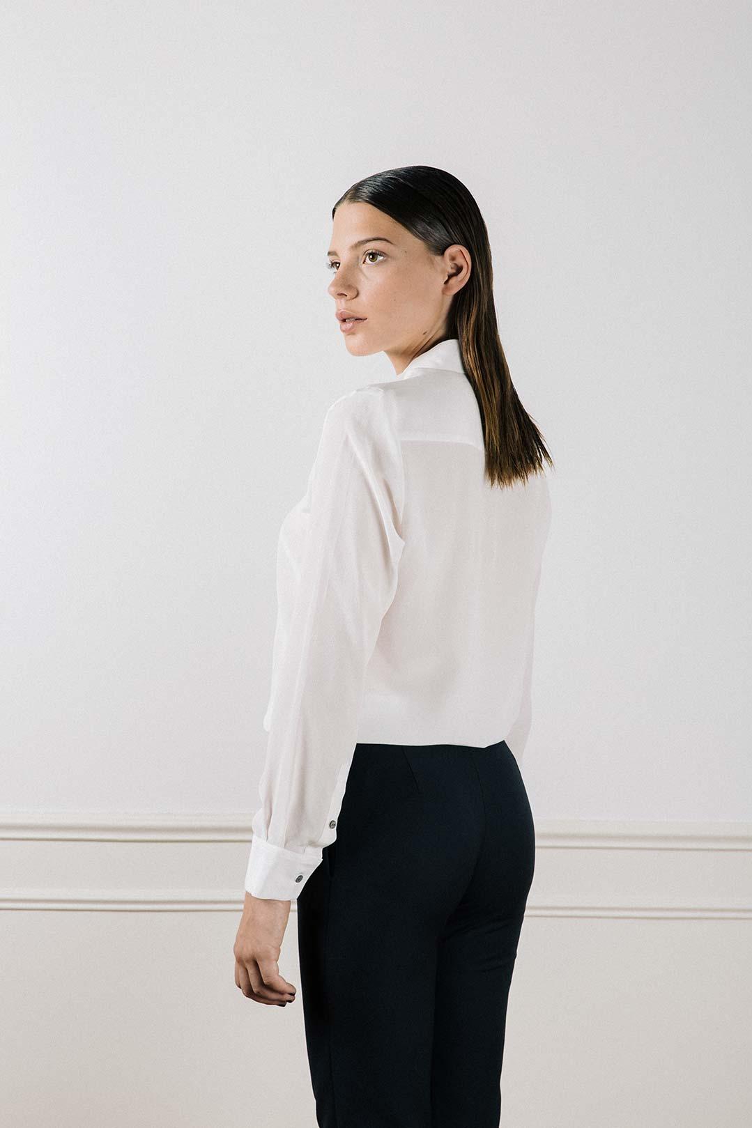 Chemise en soie lavée blanche Muriel