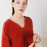 Top en soie lavée rouge Edith