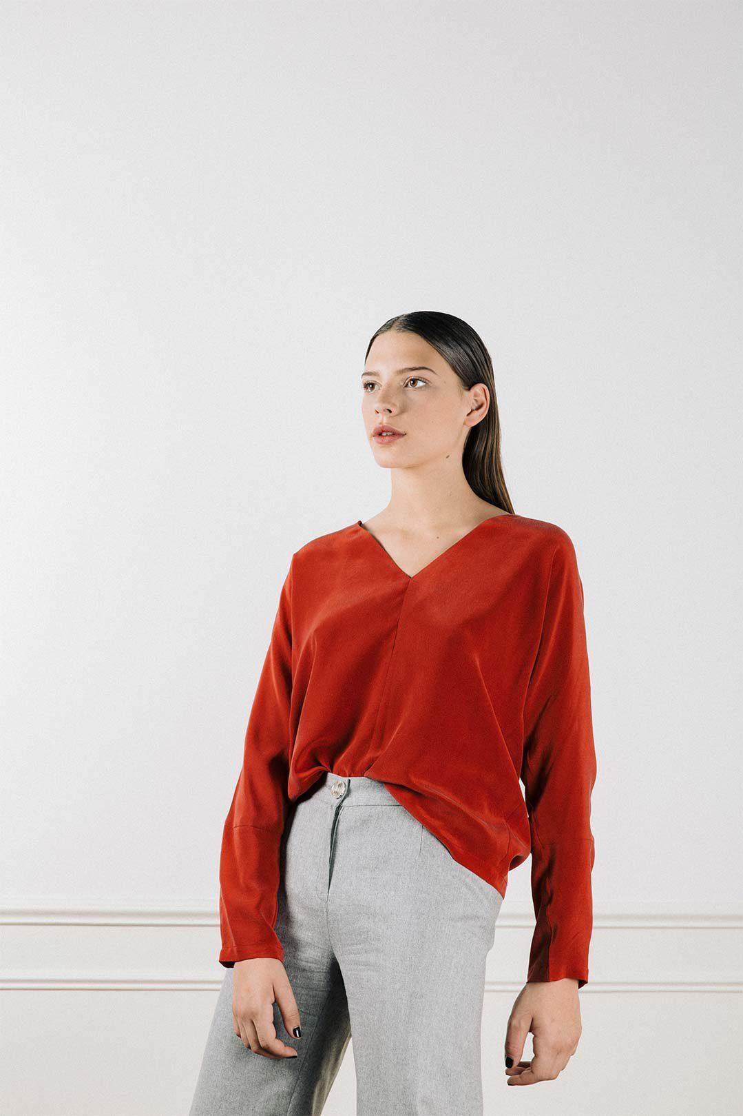 Pantalon large en laine grise Laura
