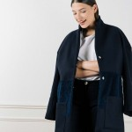 Manteau en laine bleue oversize Mia