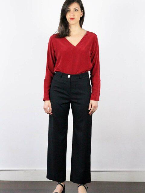 Pantalon large femme taille haute