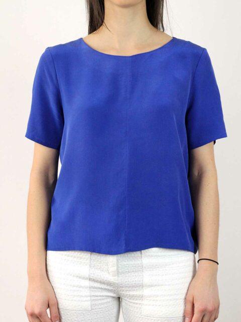 Top soie bleu