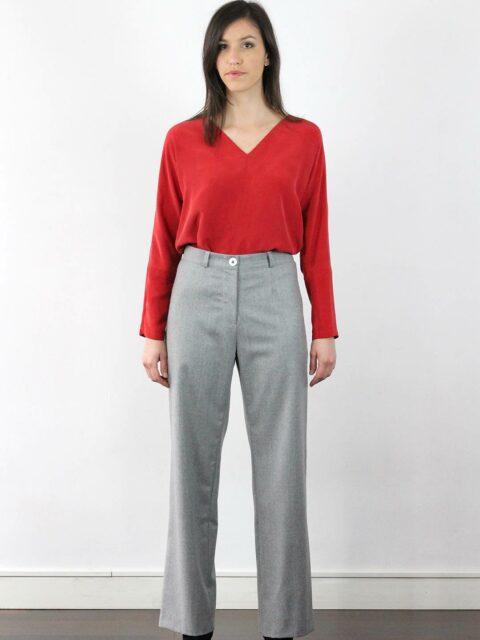 pantalon large femme gris