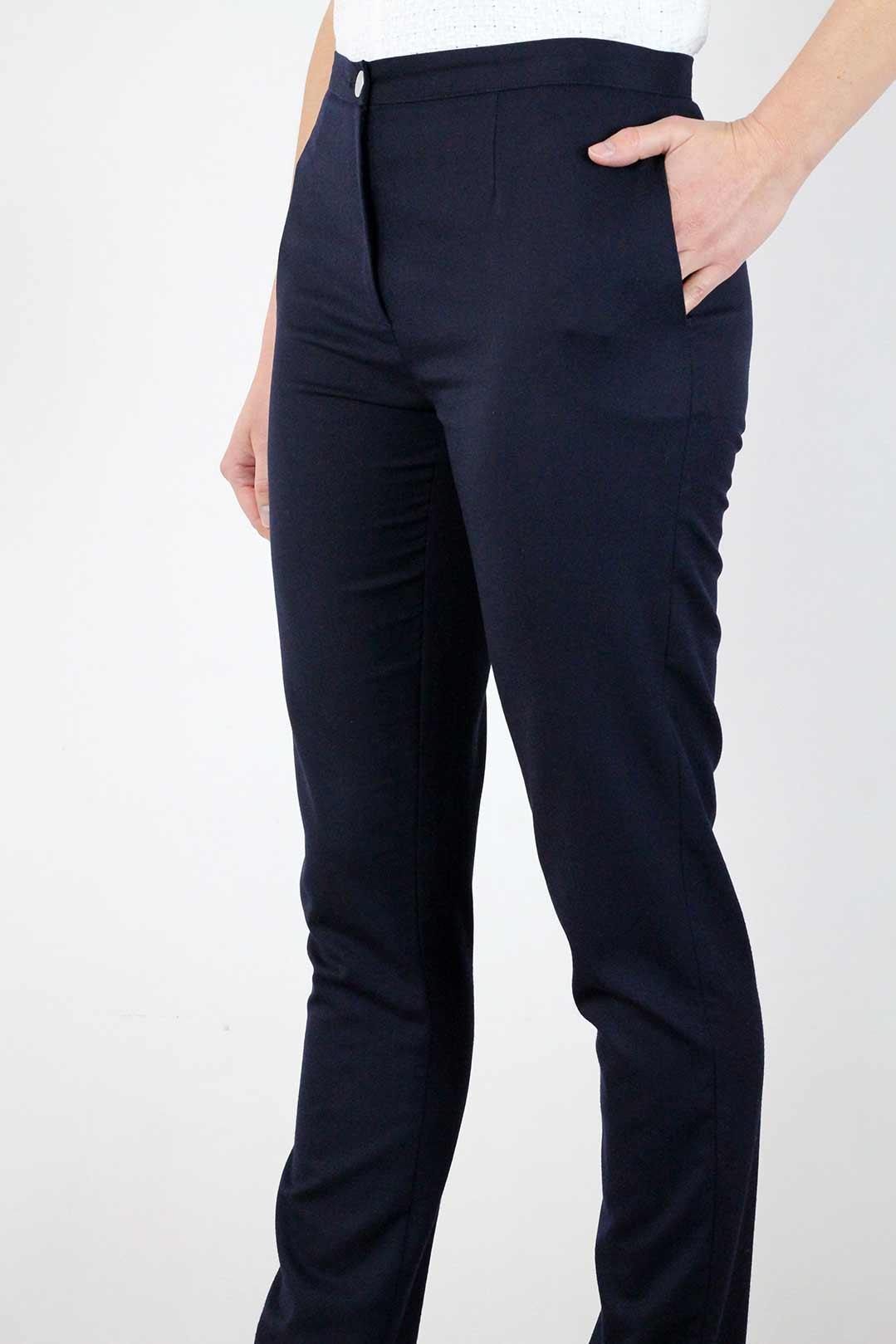pantalon tailleur femme bleu marine 1