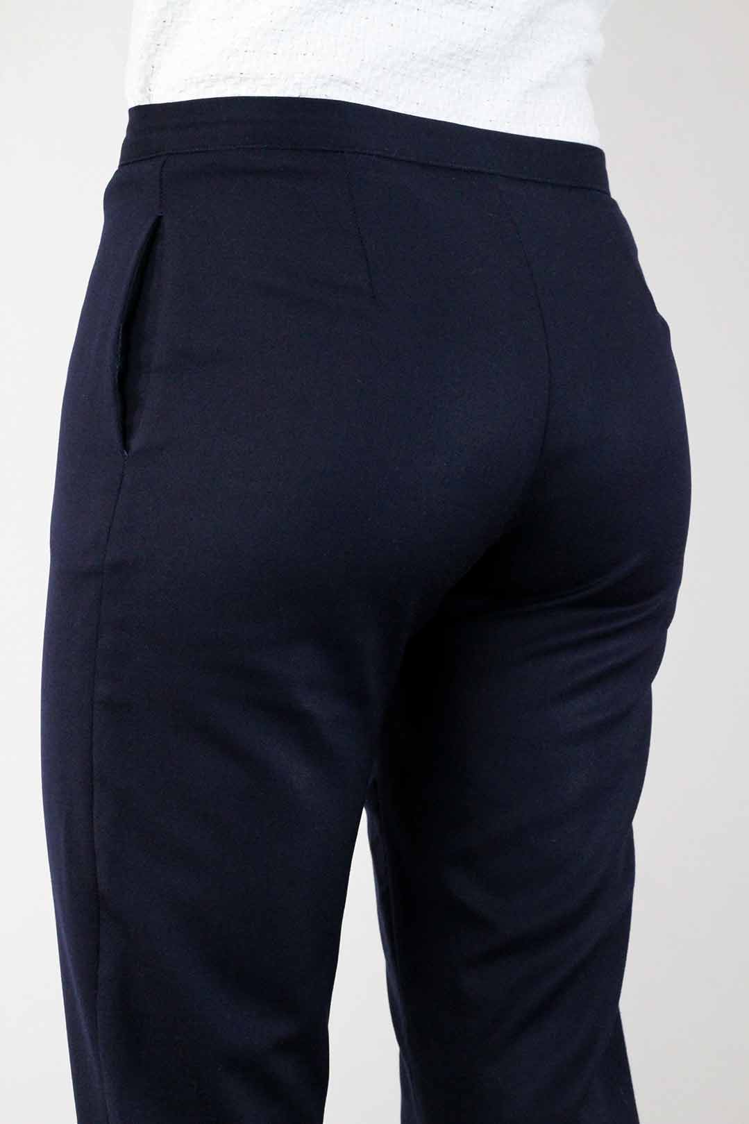 pantalon bleu marine femme droit en laine made in france atode. Black Bedroom Furniture Sets. Home Design Ideas