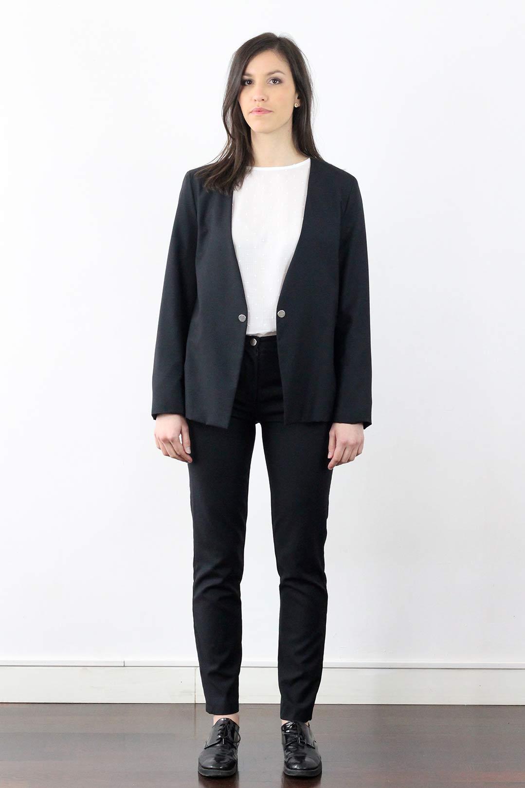veste de tailleur noire femme en laine froide atode made in france. Black Bedroom Furniture Sets. Home Design Ideas
