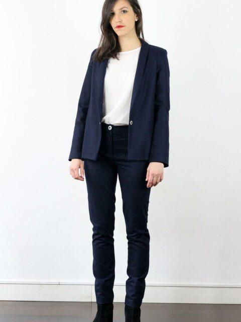 veste femme couture en coton grain bleu atode made in france. Black Bedroom Furniture Sets. Home Design Ideas