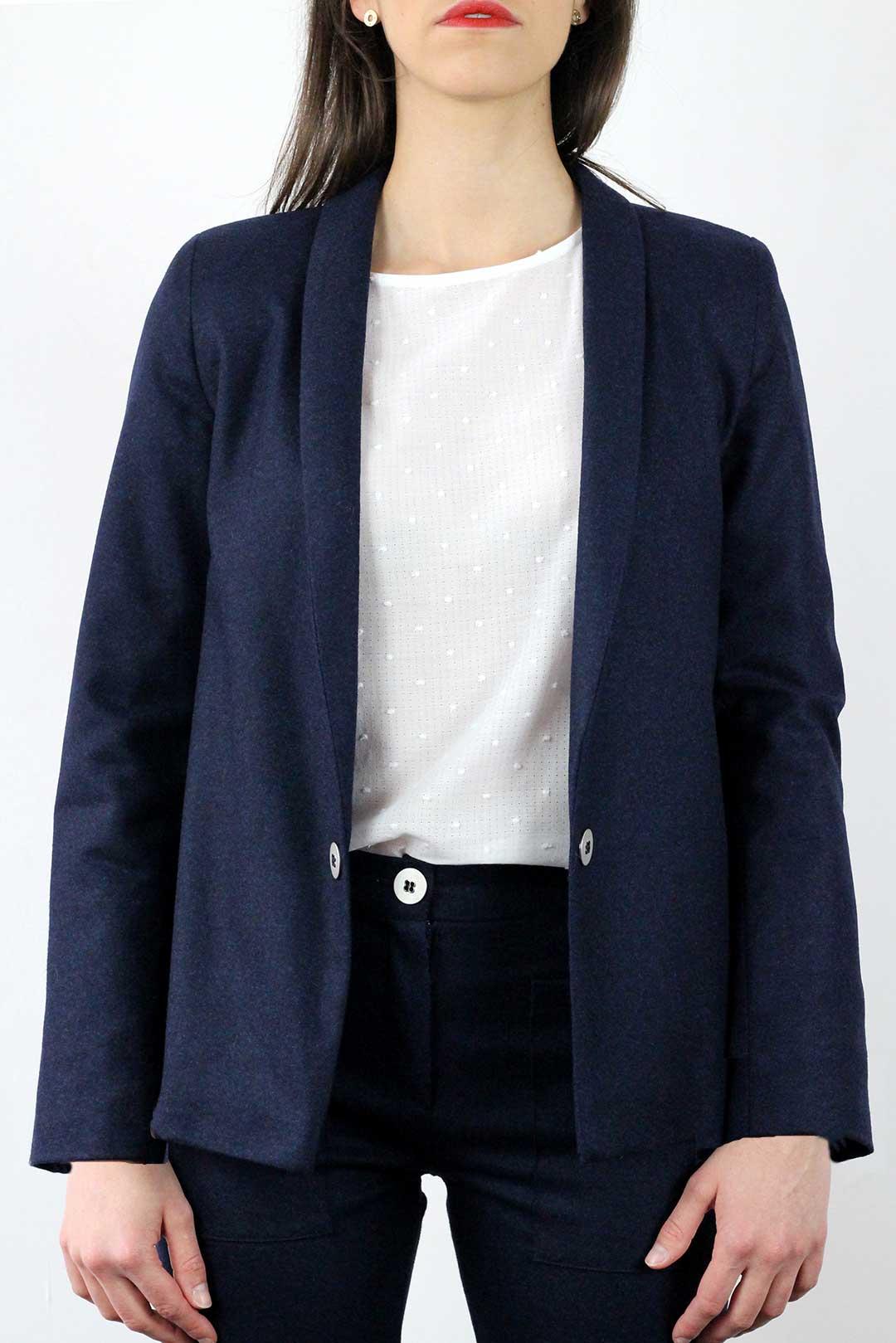 atode veste tailleur bleu marine femme en laine flanelle made in france. Black Bedroom Furniture Sets. Home Design Ideas