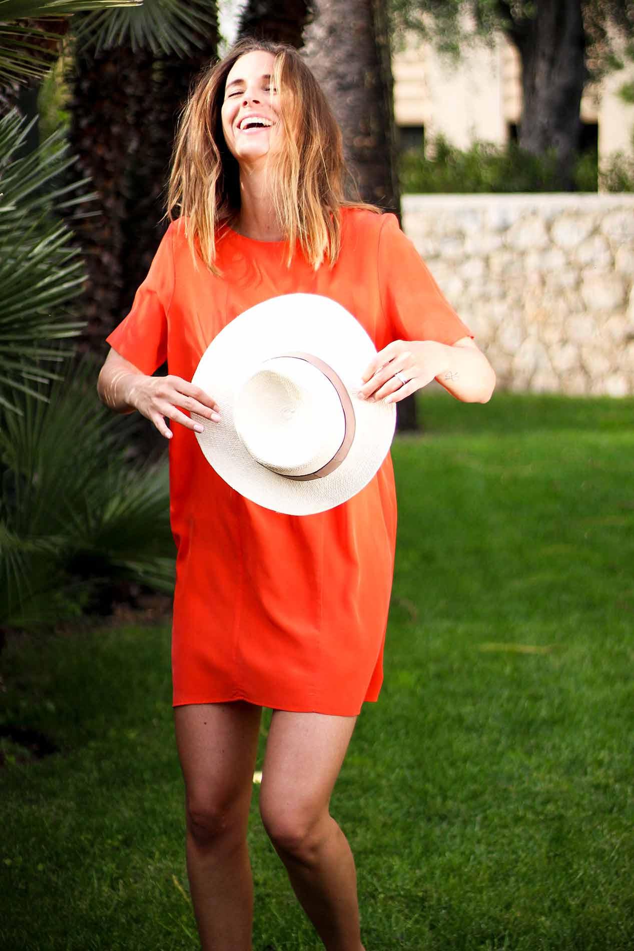 robe en soie orange