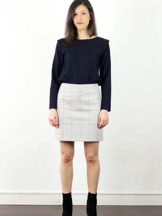 Jupe en laine grise 3