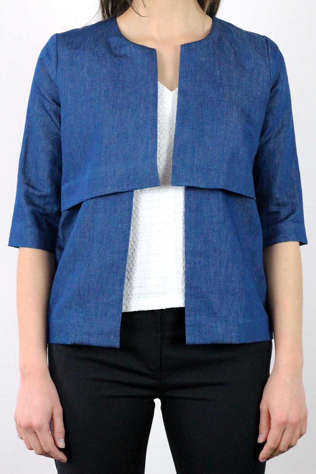 veste lin femme et coton bleu jean atode made in france. Black Bedroom Furniture Sets. Home Design Ideas