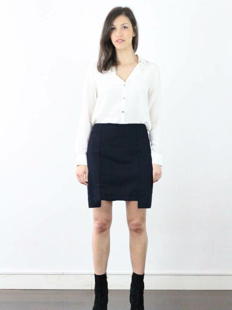jupe laine bleu marine