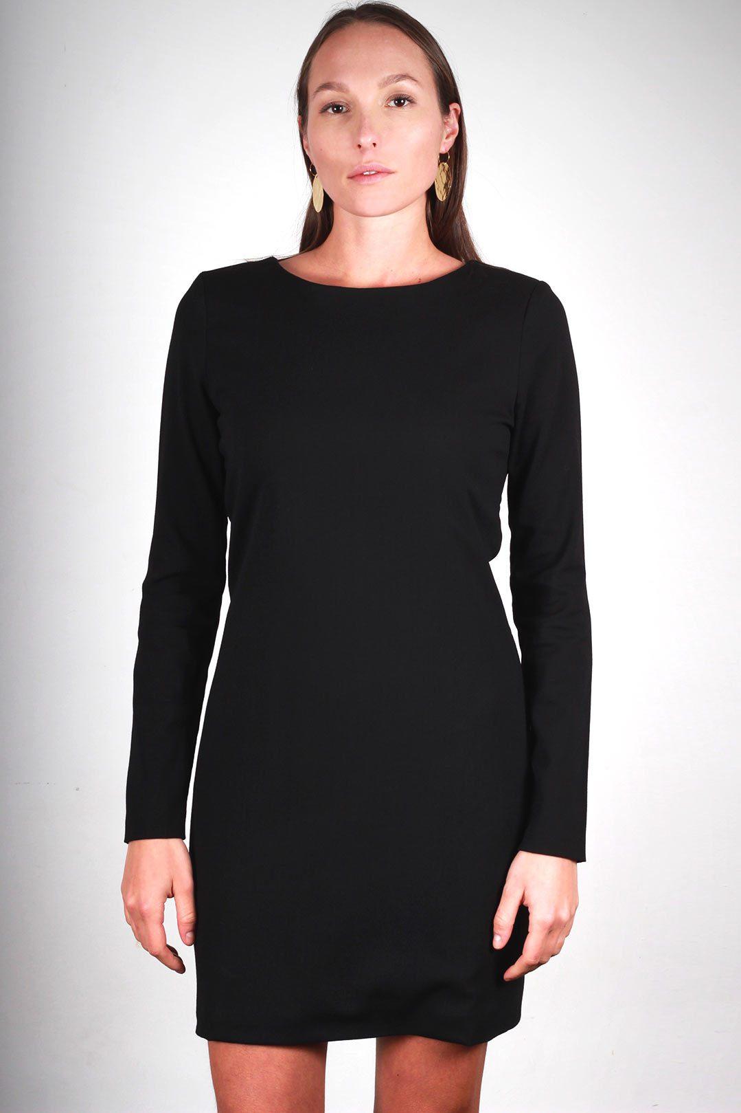 grande vente 471d7 d5b52 Robe laine noire manche longue - Agathe