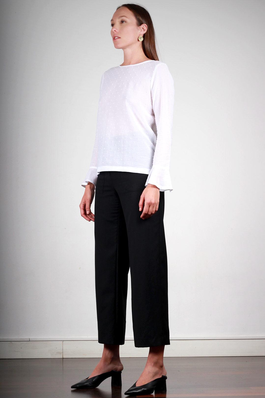 Pantalon Large Femme Taille Haute Noir En Laine Marie Atode