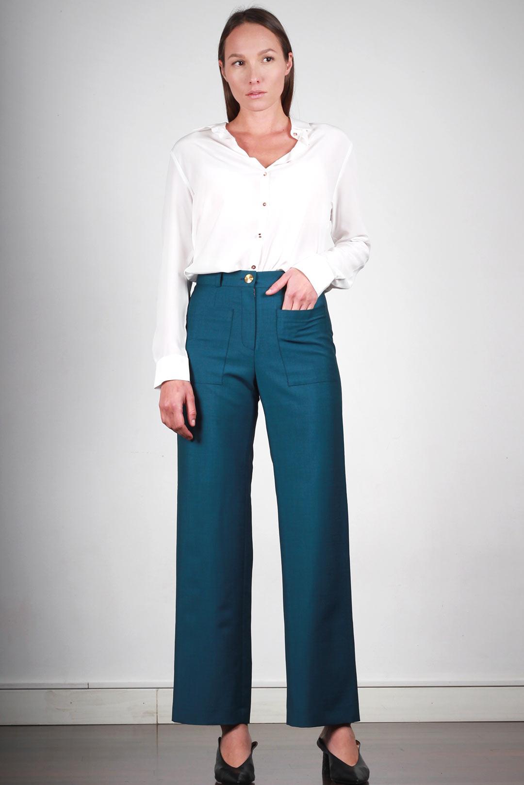 pantalon bleu canard femme large taille haute made in france atode. Black Bedroom Furniture Sets. Home Design Ideas