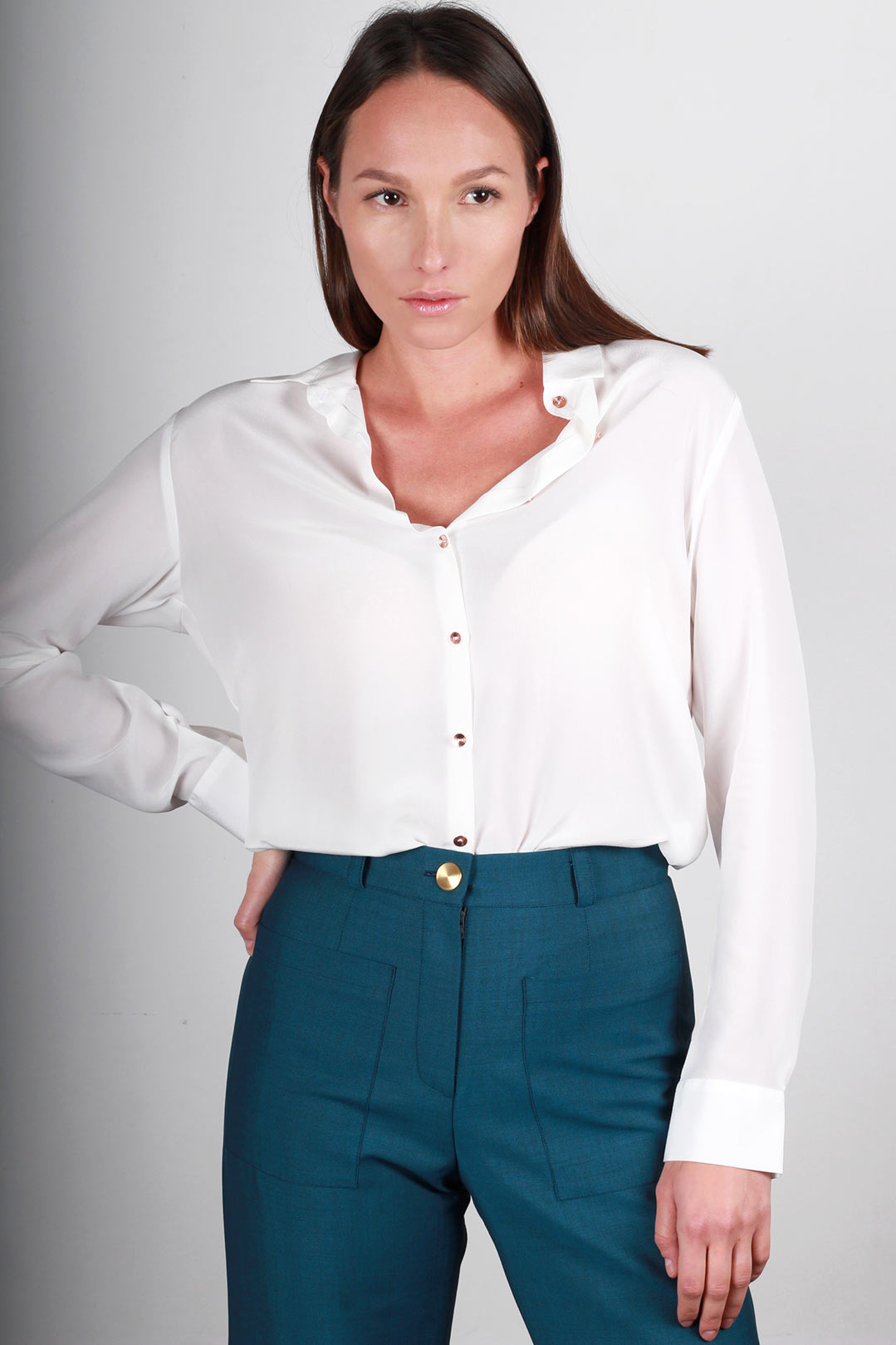 Chemisier femme chic en soie blanche Géraldine | ATODE