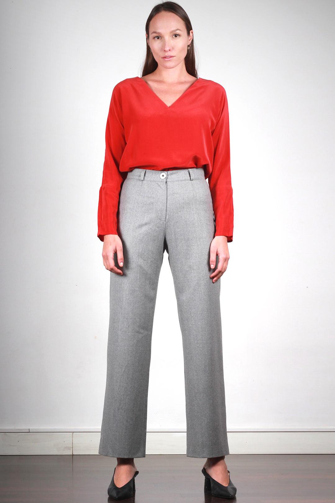 0ba68866743c ATODE - Pantalon Large Femme Gris taille haute en flanelle - Made in ...
