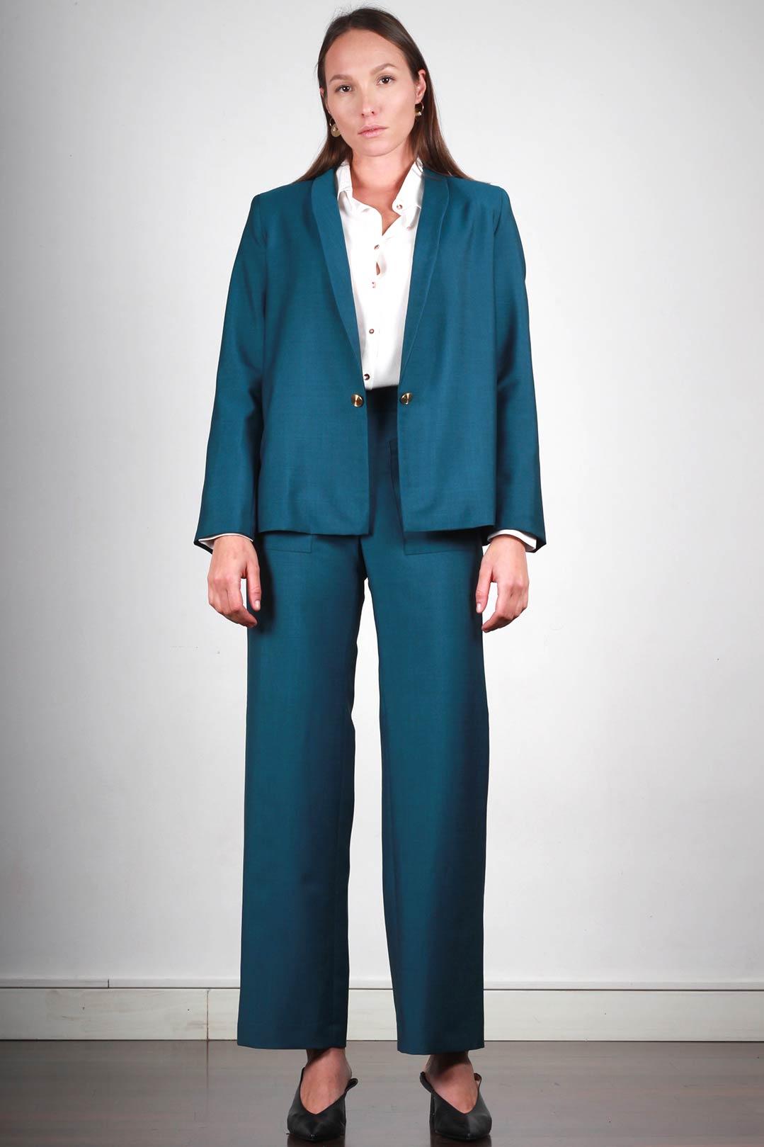 Veste tailleur femme bleu canard en laine froide Made in