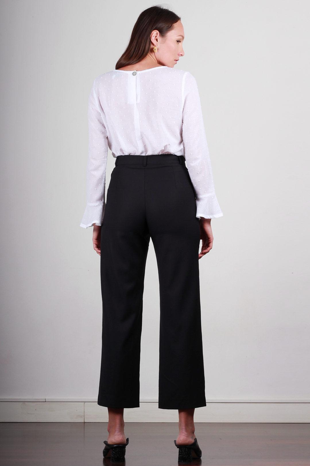 Pantalon large femme taille haute en laine