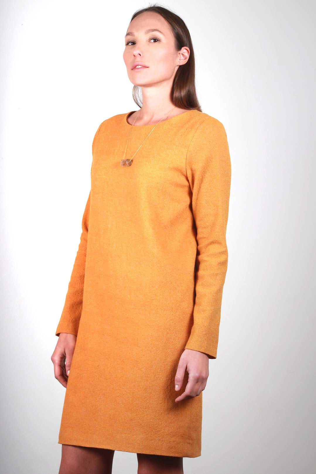 59c6cb0b0552 ATODE - Robe moutarde droite en laine vierge - Made in France