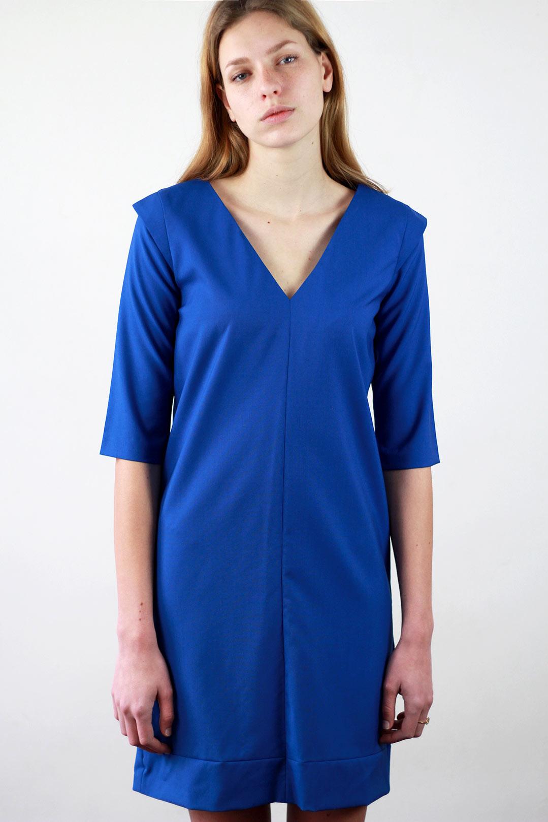 Robe droite bleu roi