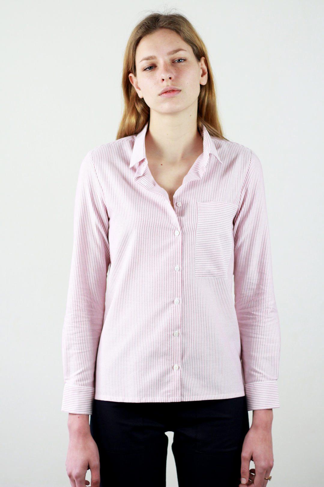 f6727942cd8e Chemise rayée femme rouge et blanc en coton OEKO-TEX® – Marie Hélène