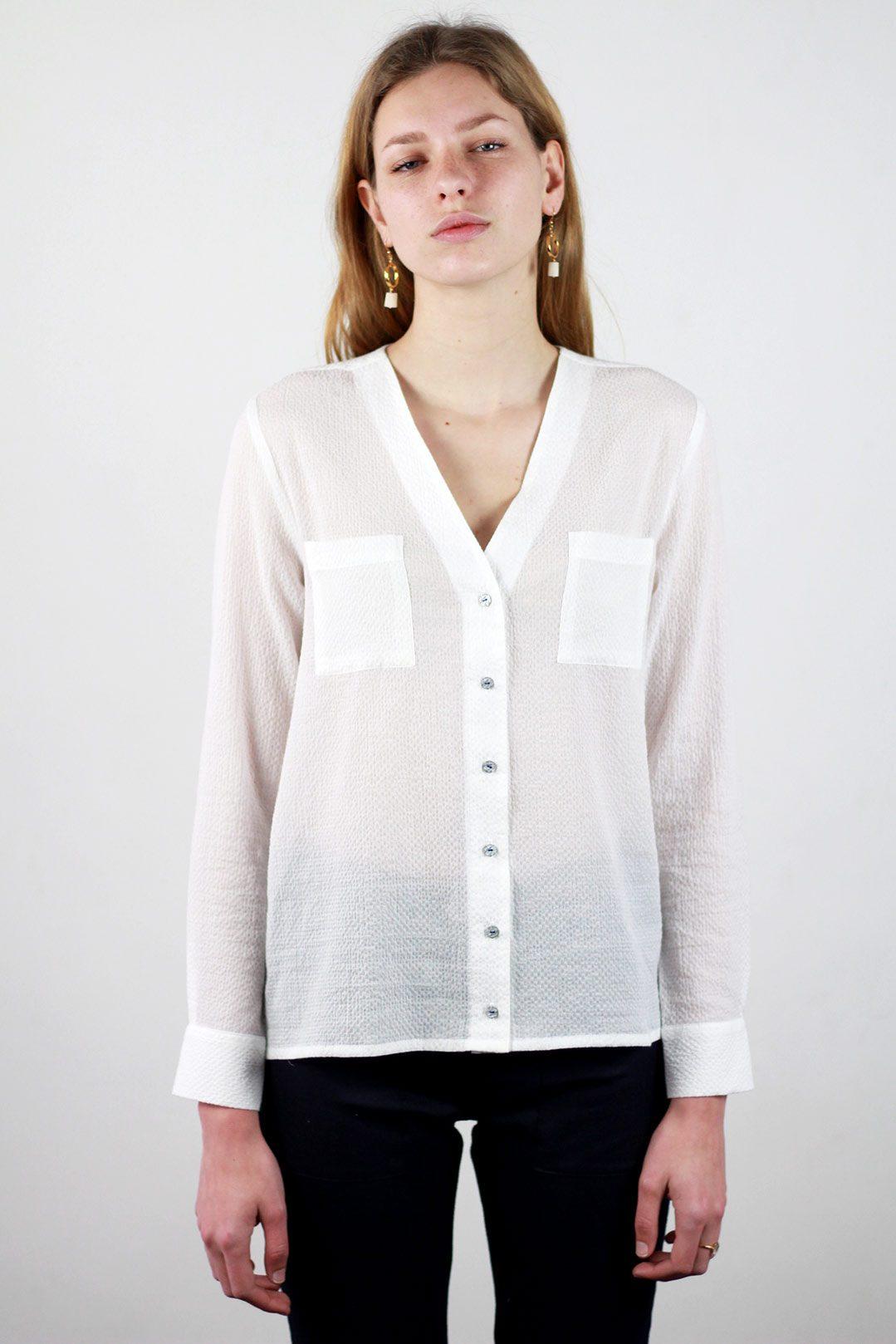 code promo très convoité gamme de économies fantastiques Chemisier blanc femme chic en coton Stéphanie | ATODE