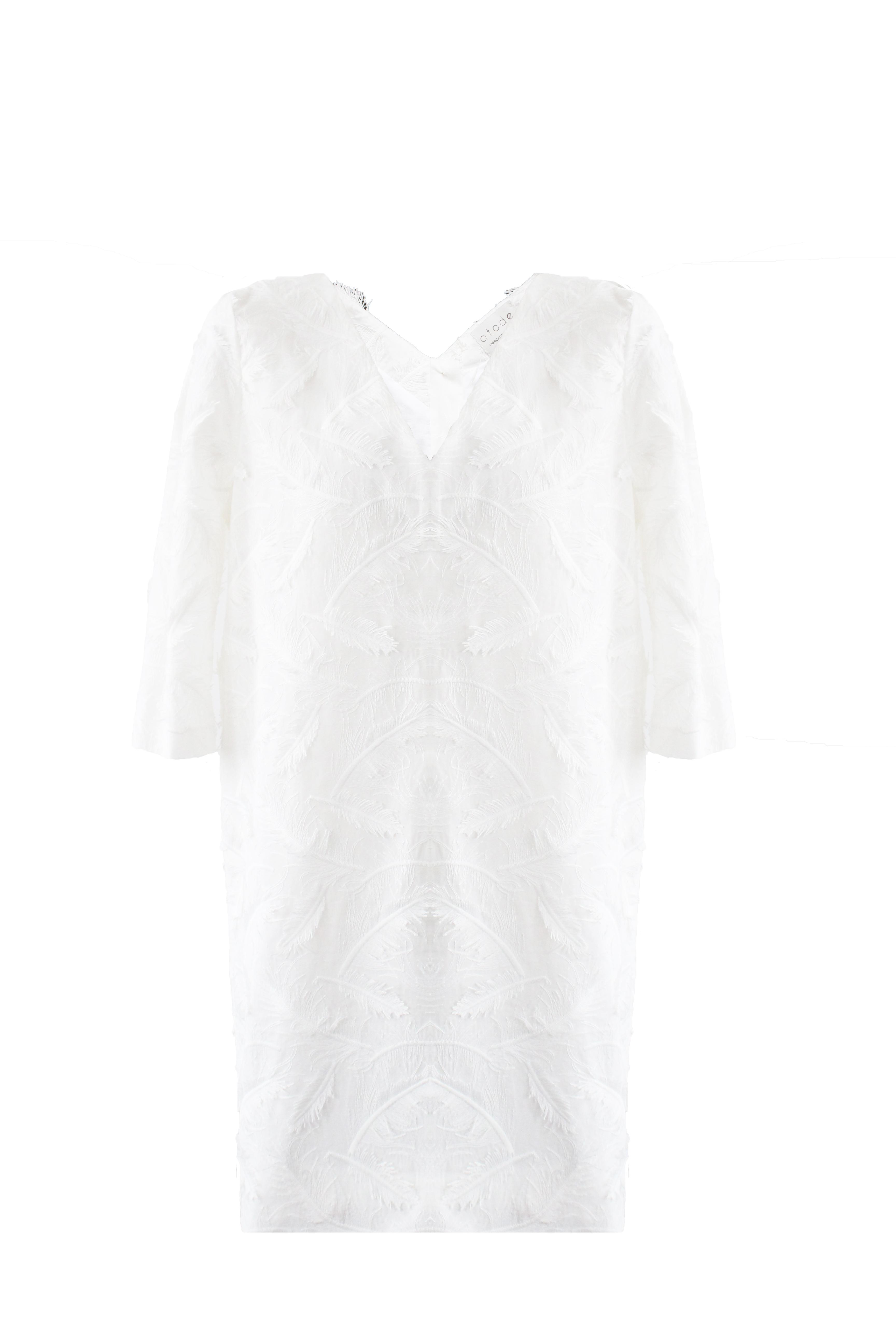Robe blanche manche 34 en coton Eloïse