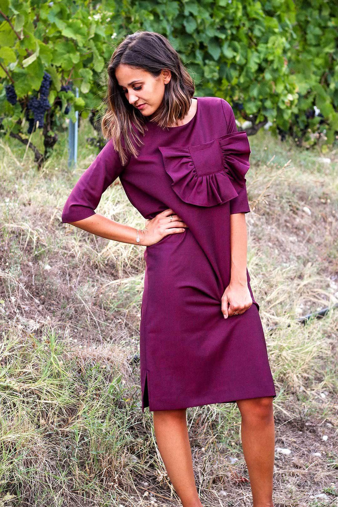 df818fb5a78 Robe longue bordeaux en laine froide avec détails poche - Made in ...