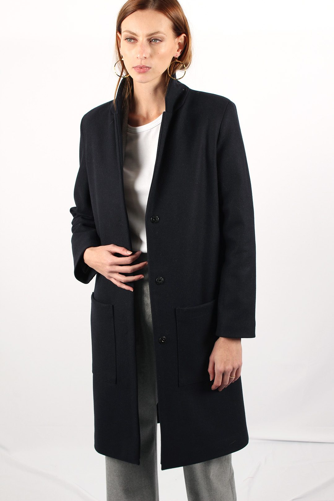 Manteau Oversize en laine bleue marine Made in France | ATODE