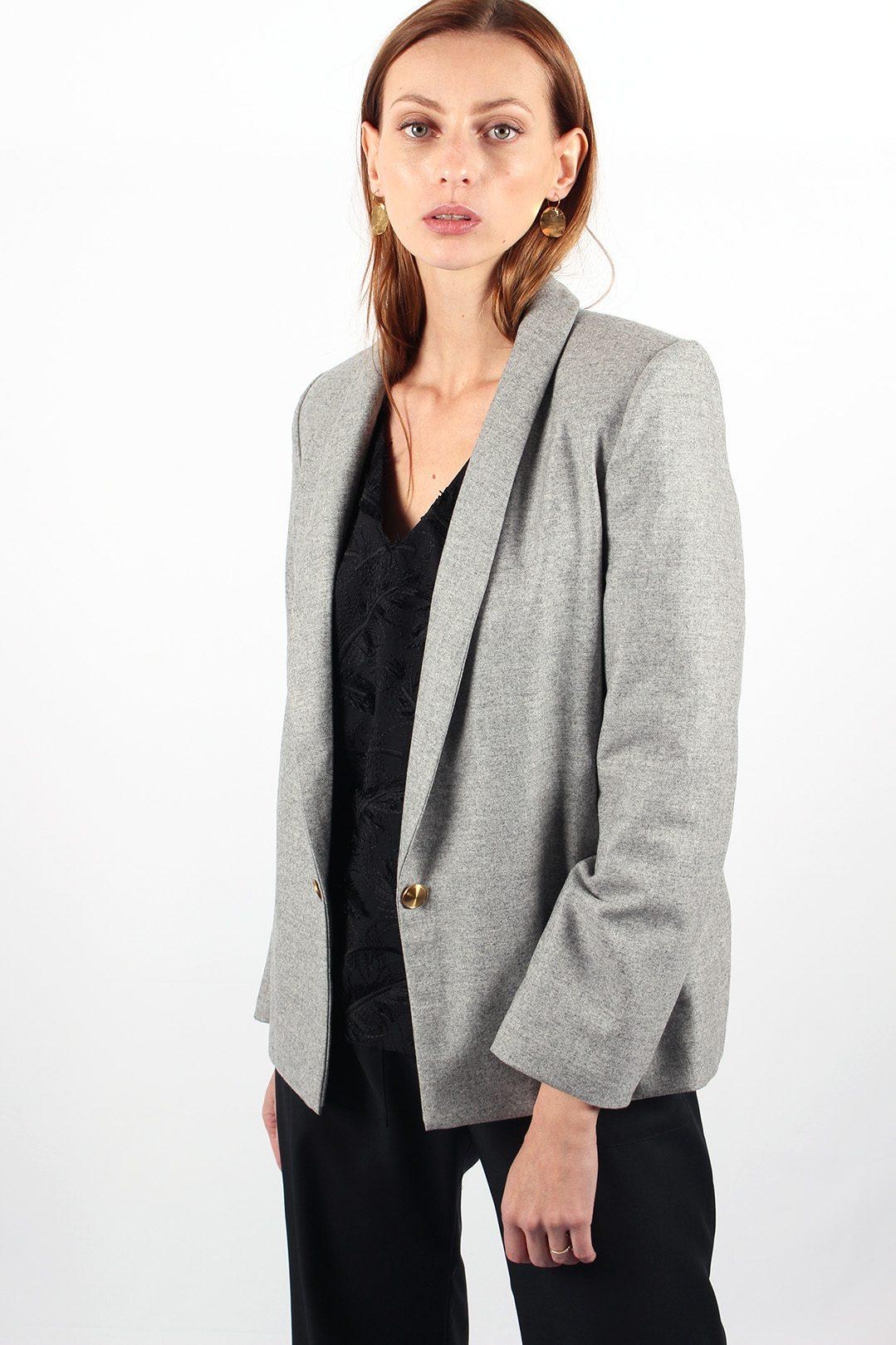 Veste de tailleur grise en laine flanelle Marie anne
