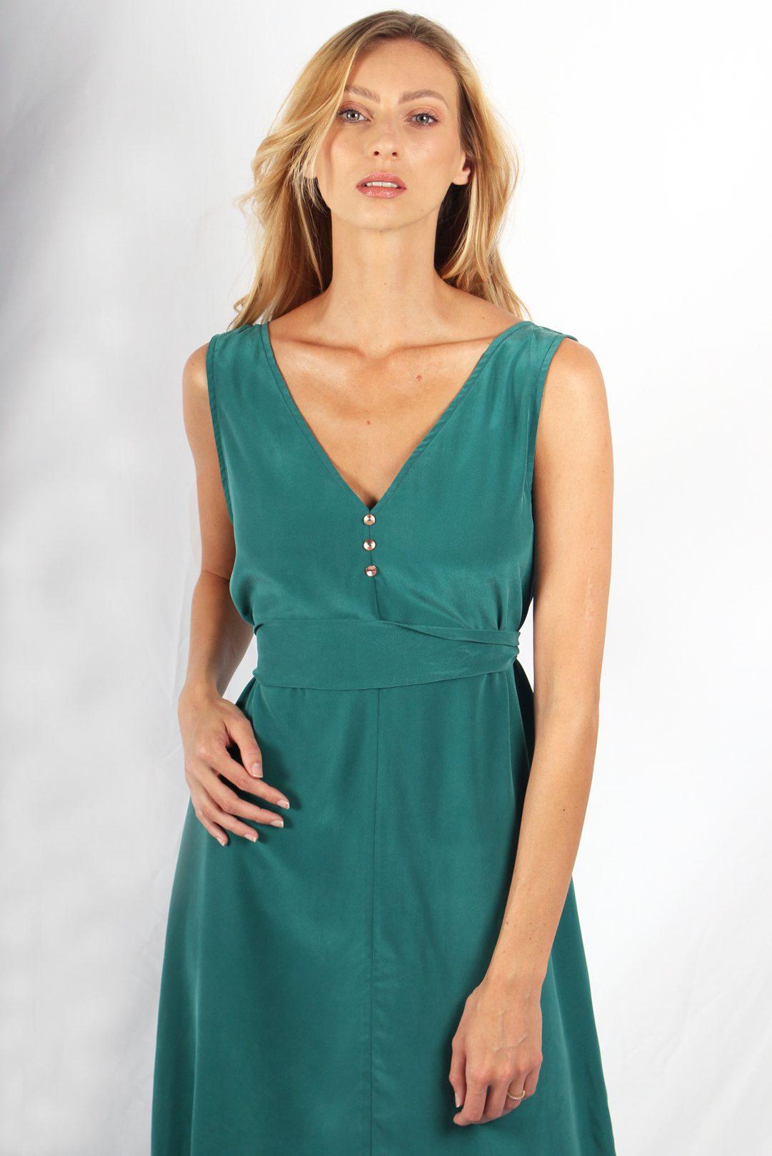 robe longue en soie verte6