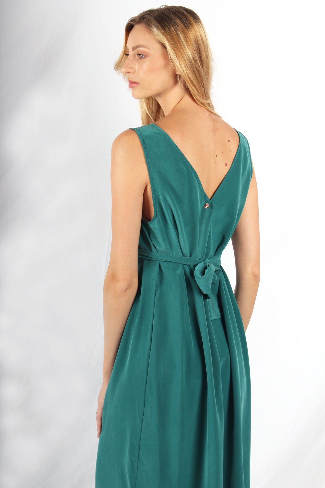 robe longue en soie verte7