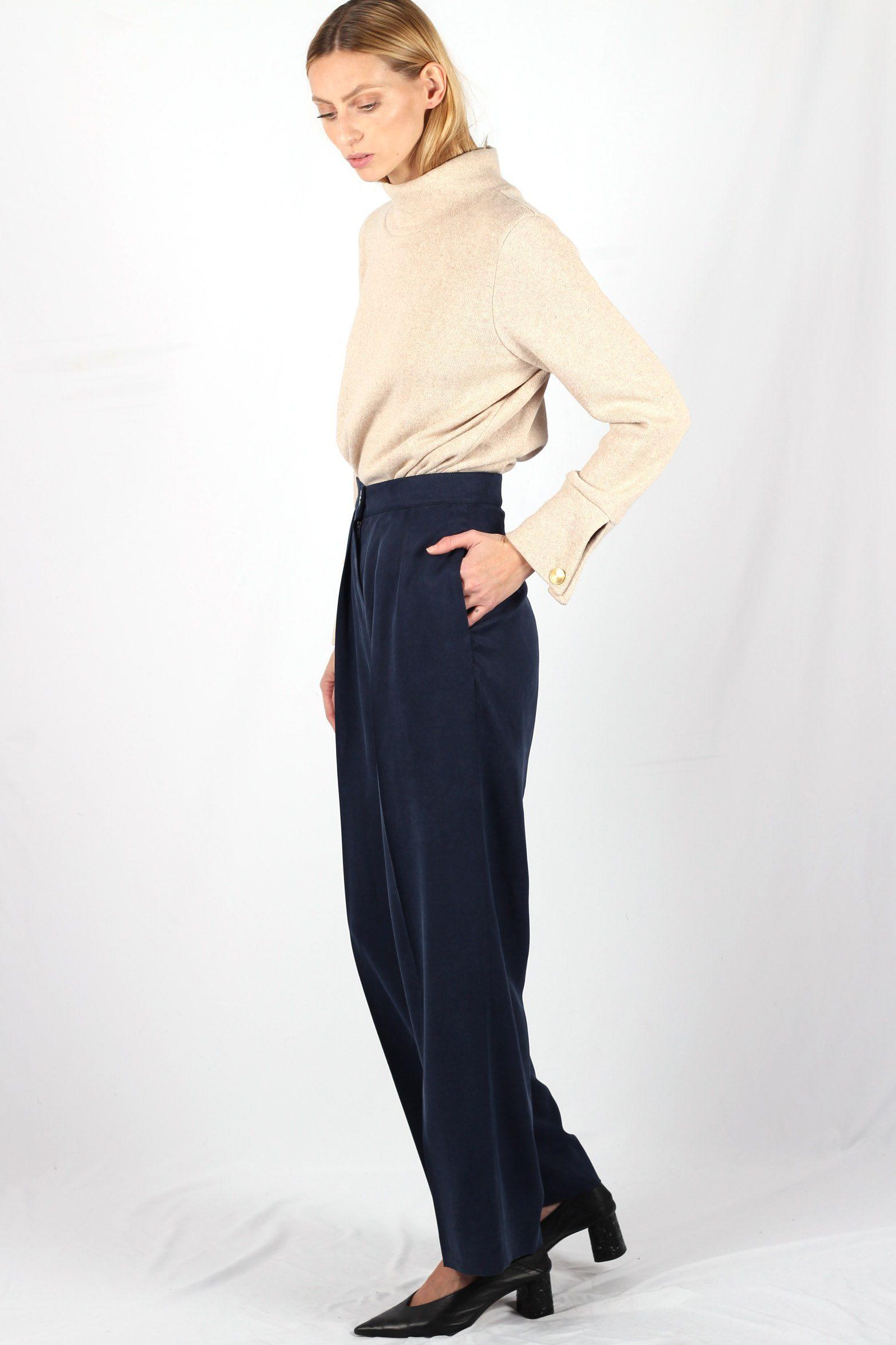 Pantalon large à pinces bleu foncé