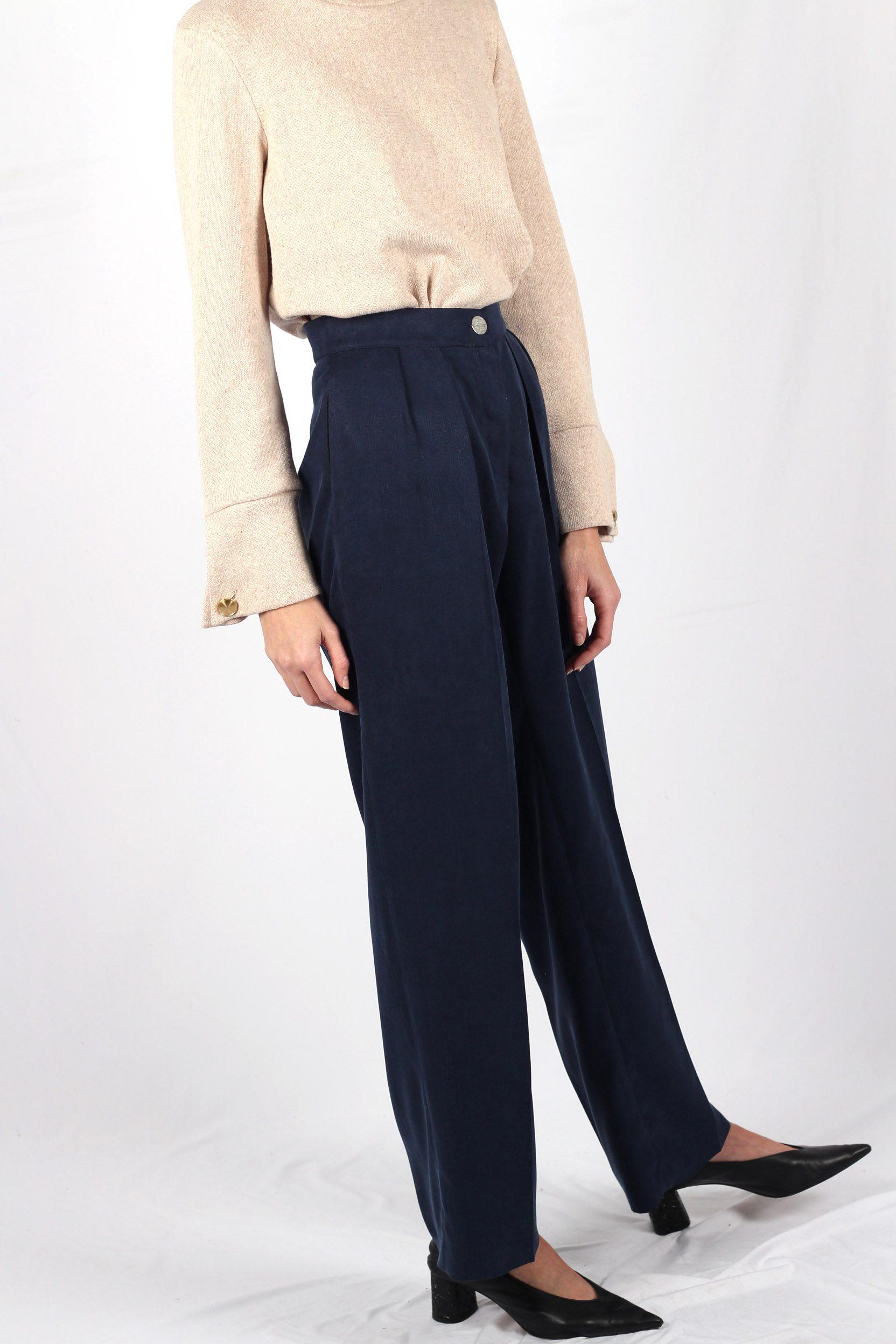 Pantalon large à pinces bleu foncé2