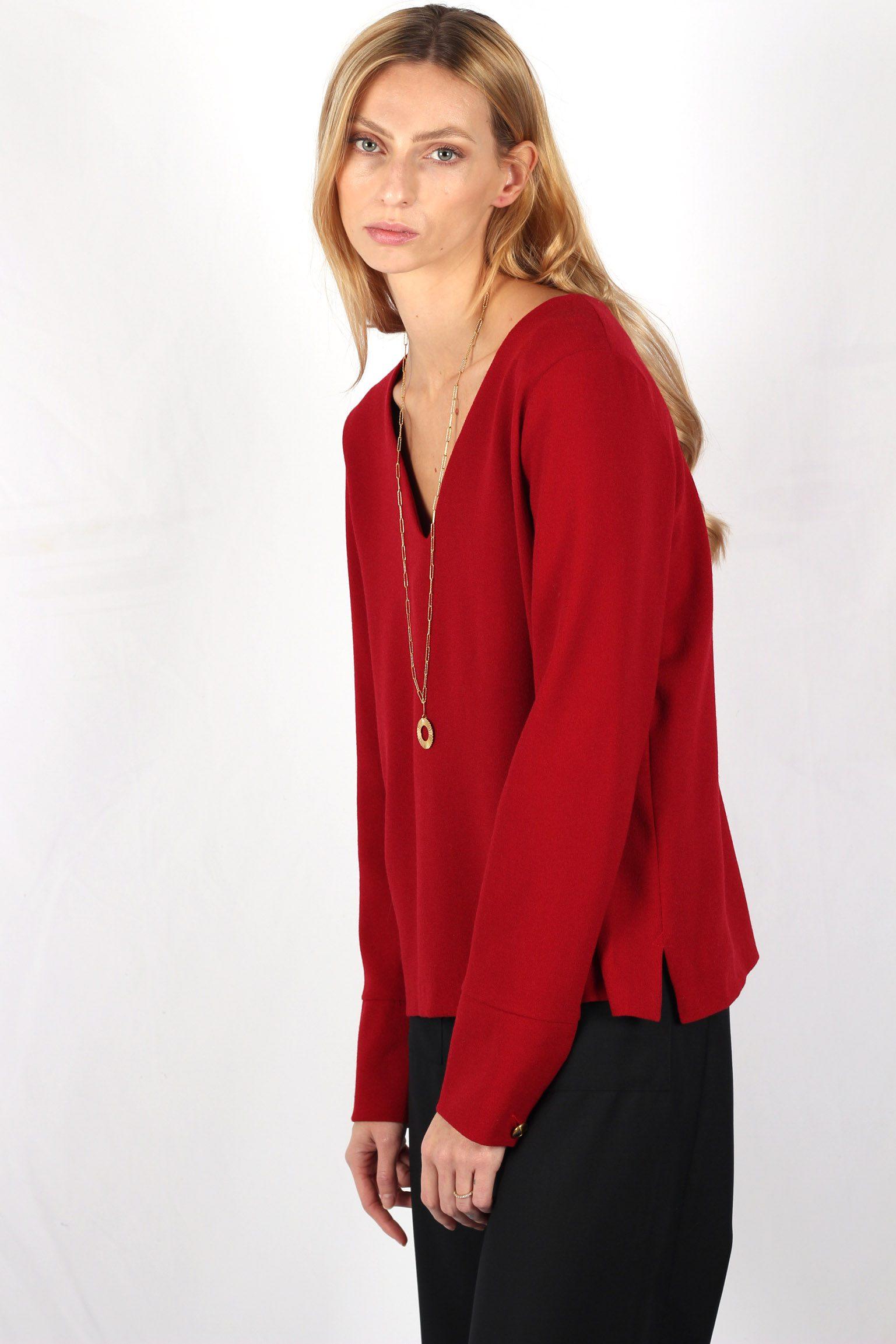 Pull rouge en crêpe de laine2