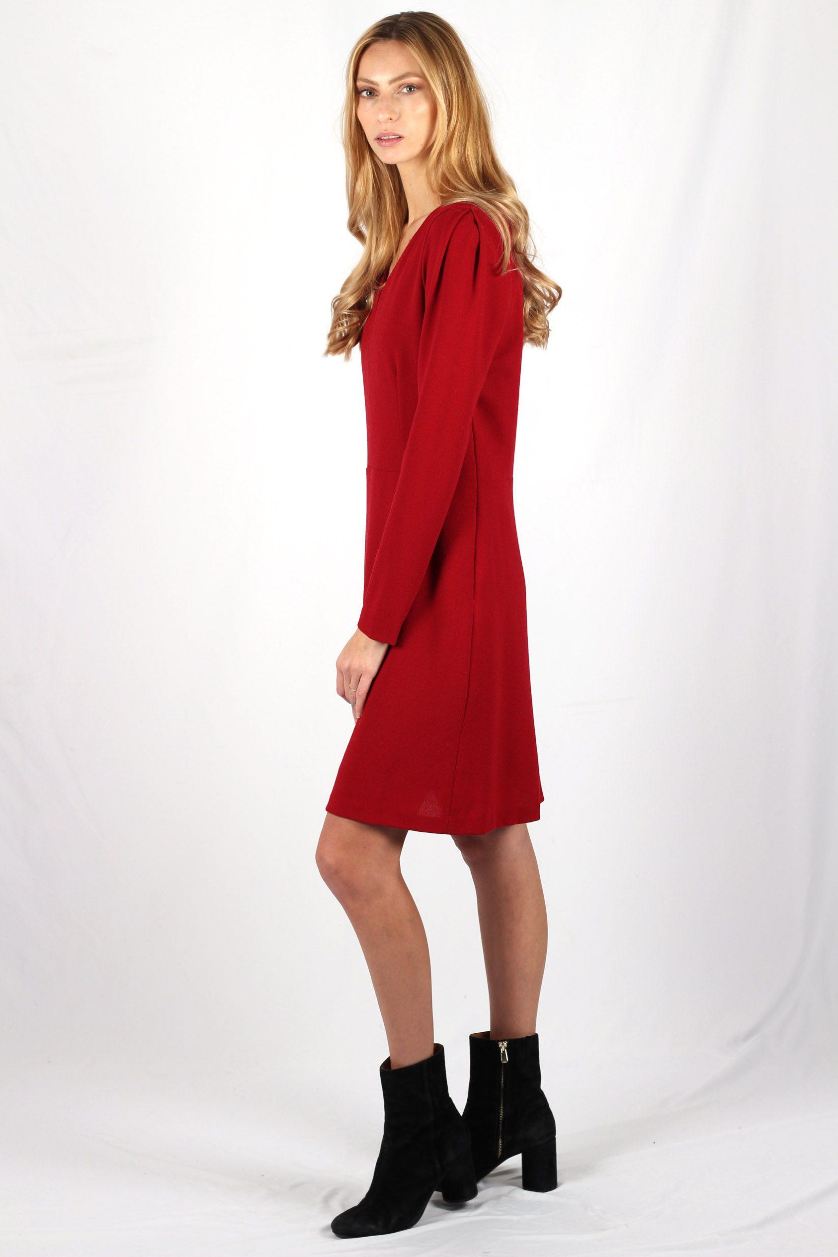 robe rouge cintrée en crêpe de laine