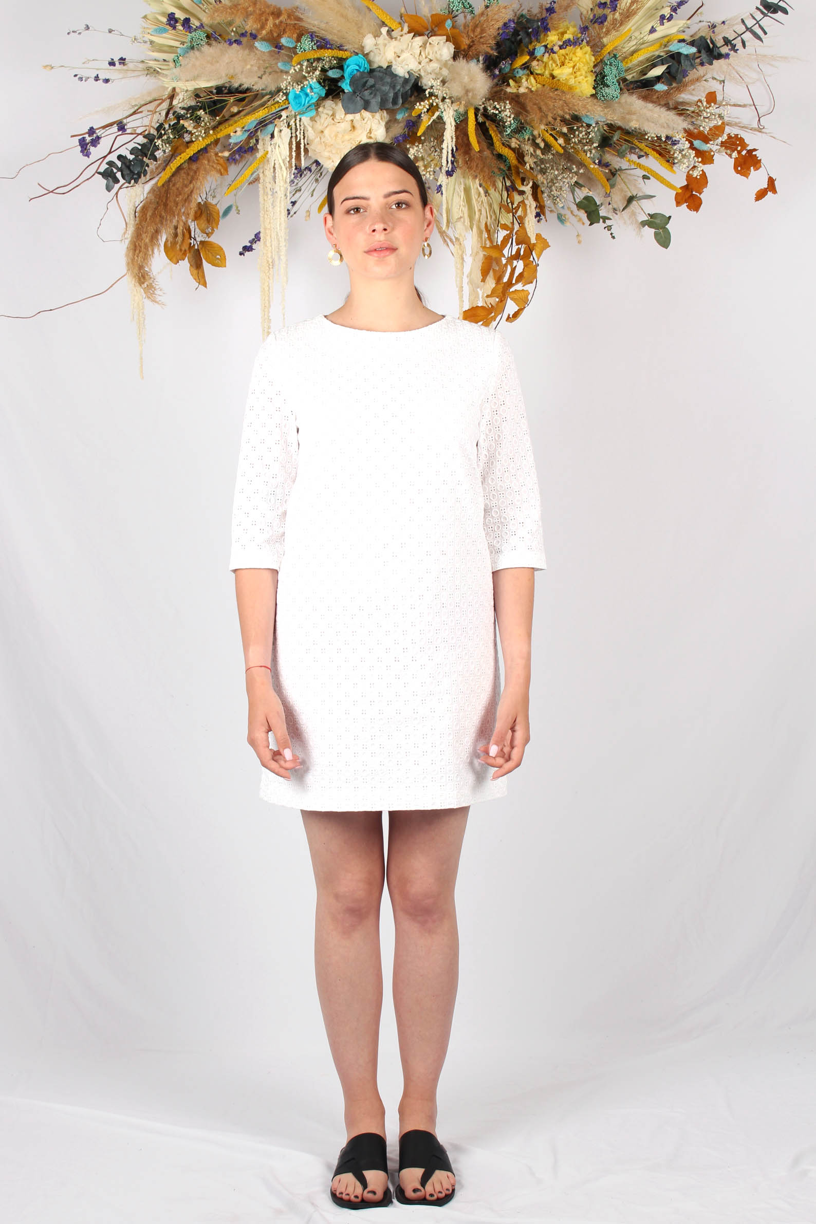 Robe droite blanche en piqué de coton