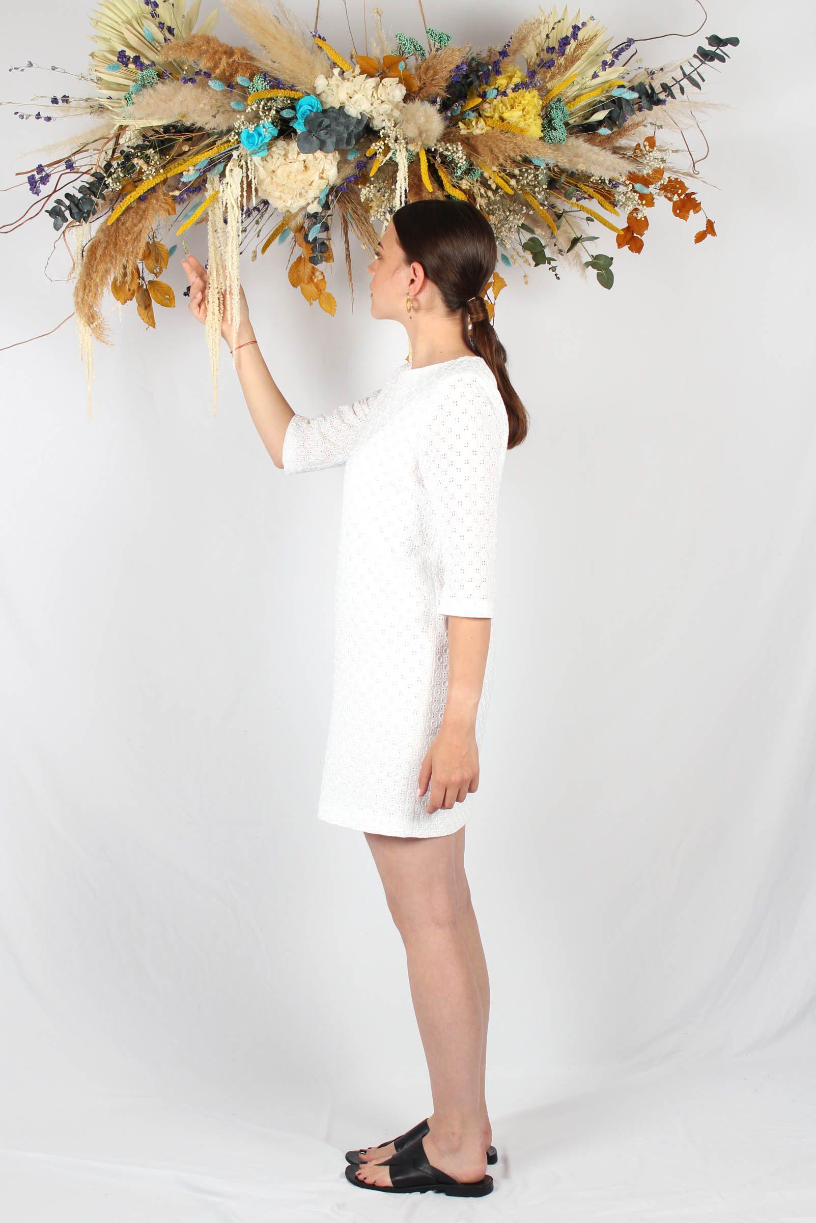 Robe droite blanche en piqué de coton3