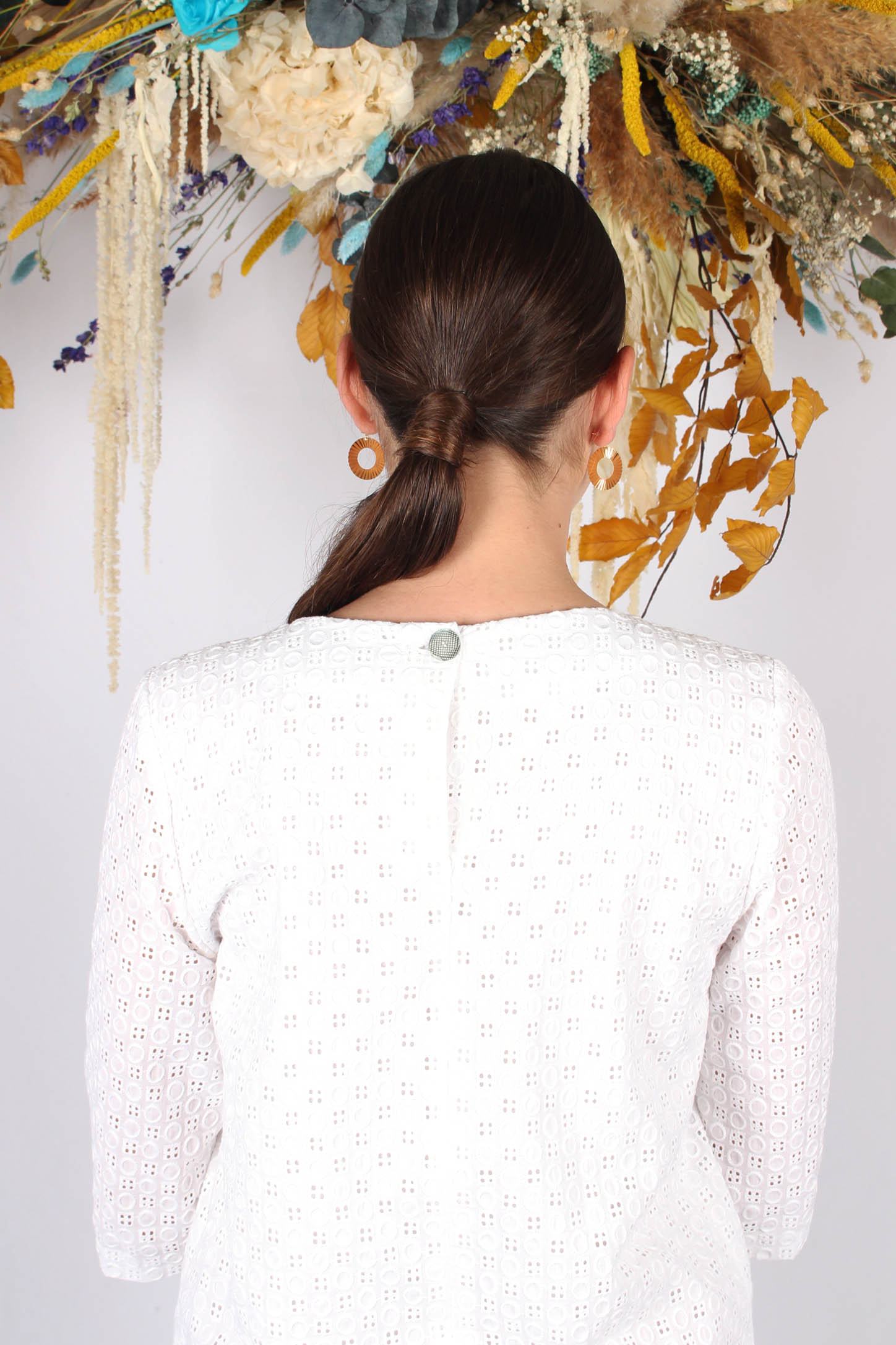 Robe droite blanche en piqué de coton6