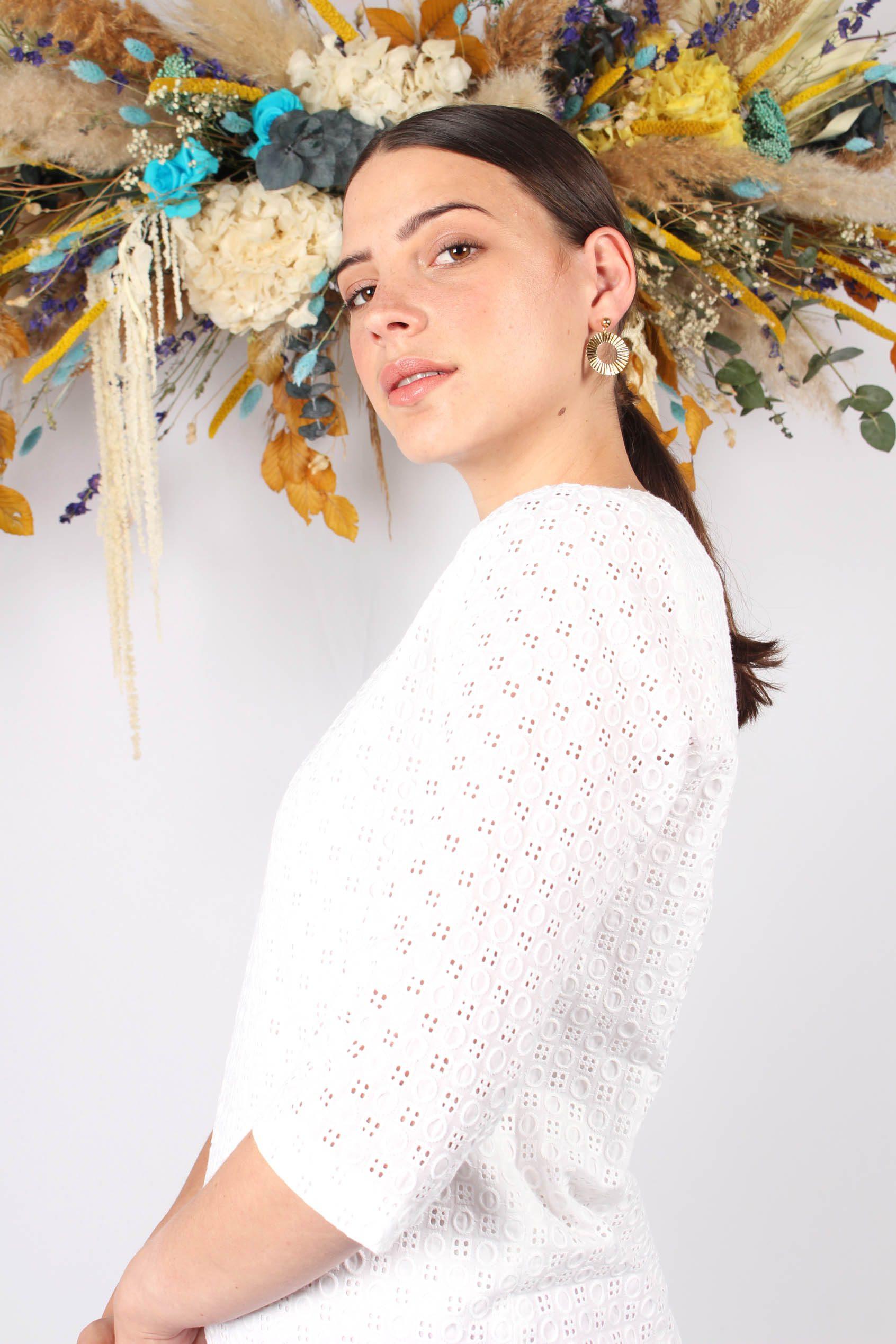 Robe droite blanche en piqué de coton8