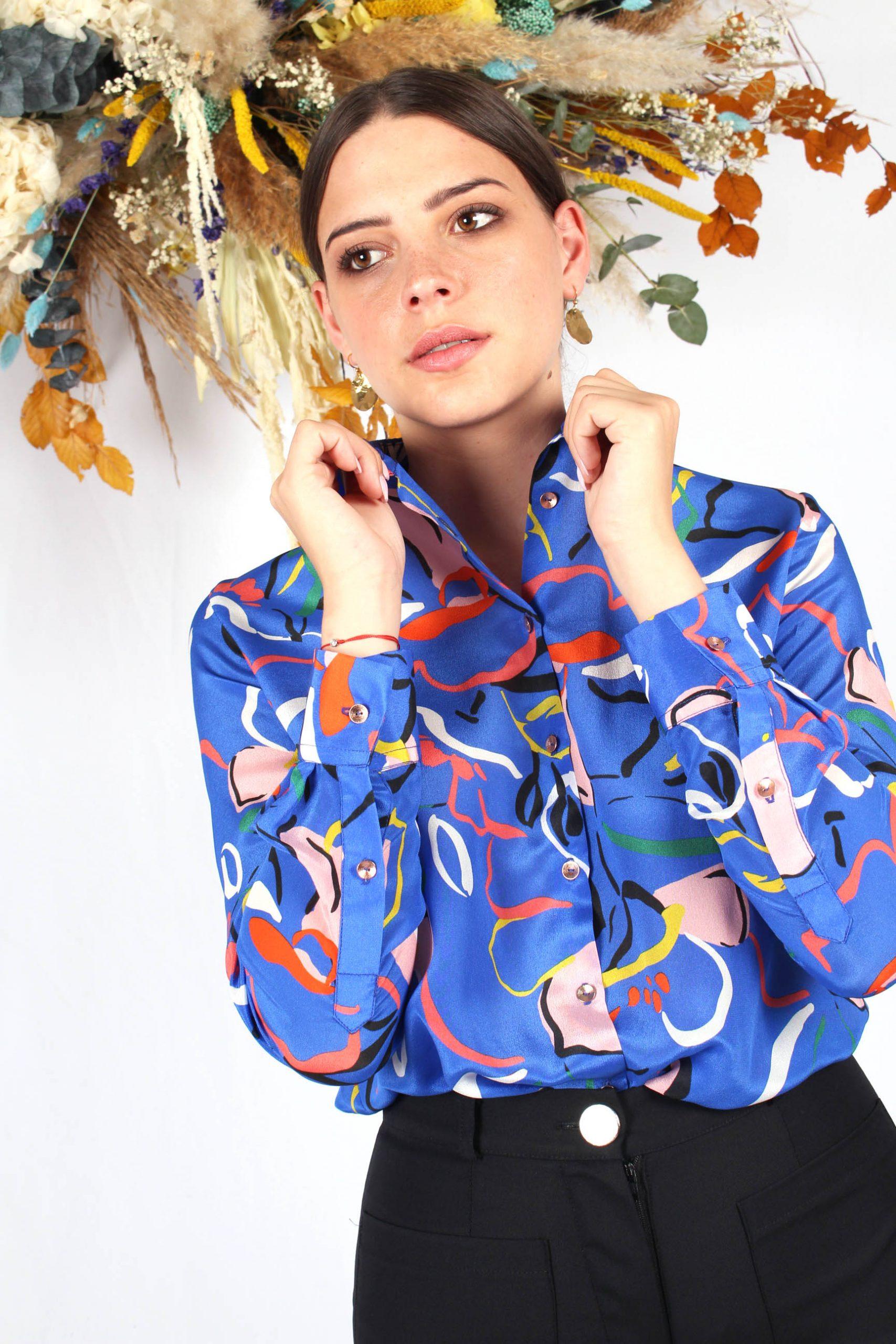 chemise imprimé bleu en soie14