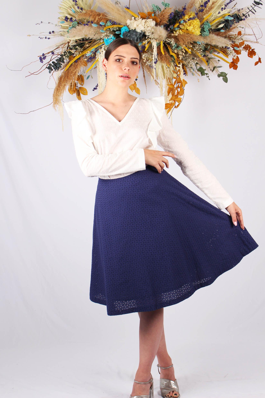 jupe dentelle midi en coton bleu marine
