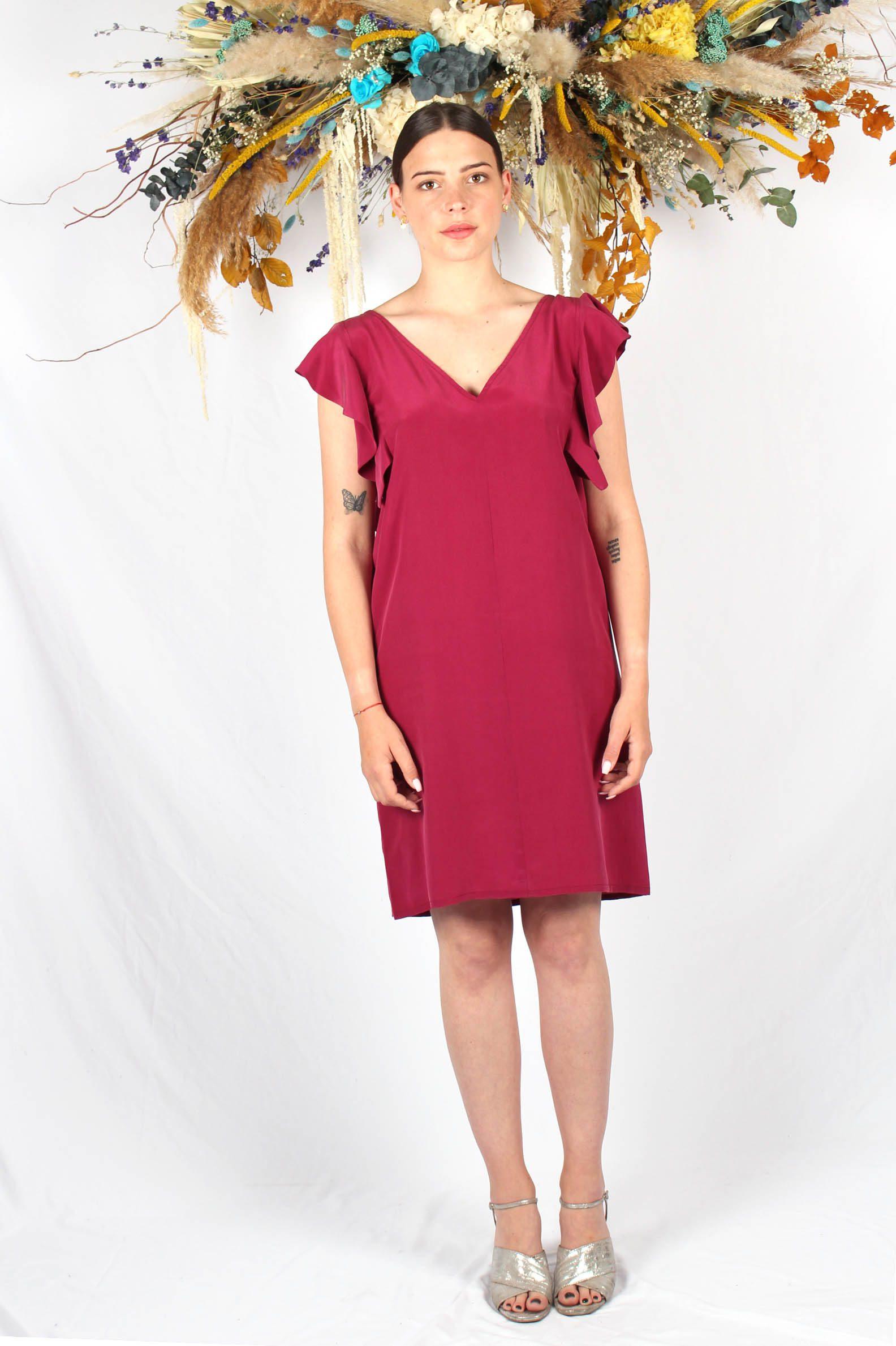 robe en soie framboise à volants