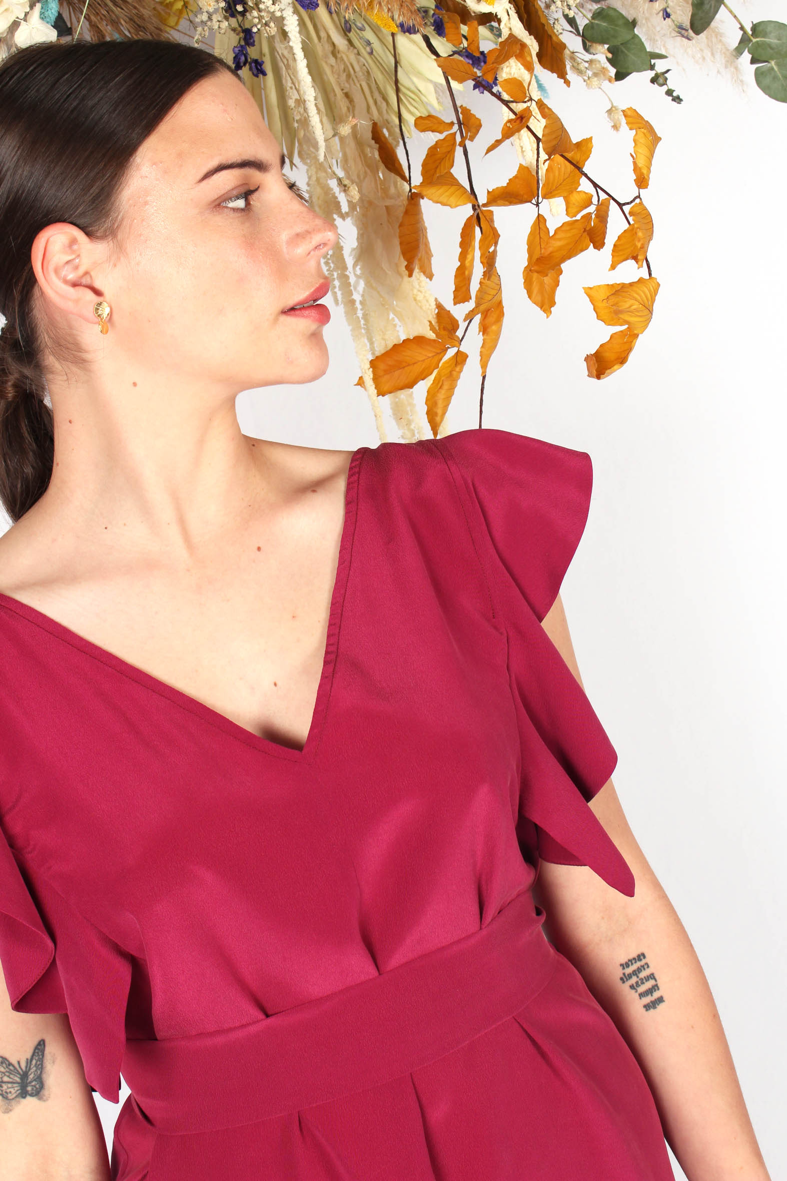 robe en soie framboise à volants3